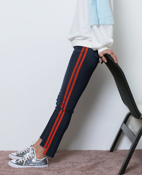 Merci Skinny Jeans With Painted Stripes - Blue/Red - Piin | ShopPiin.com