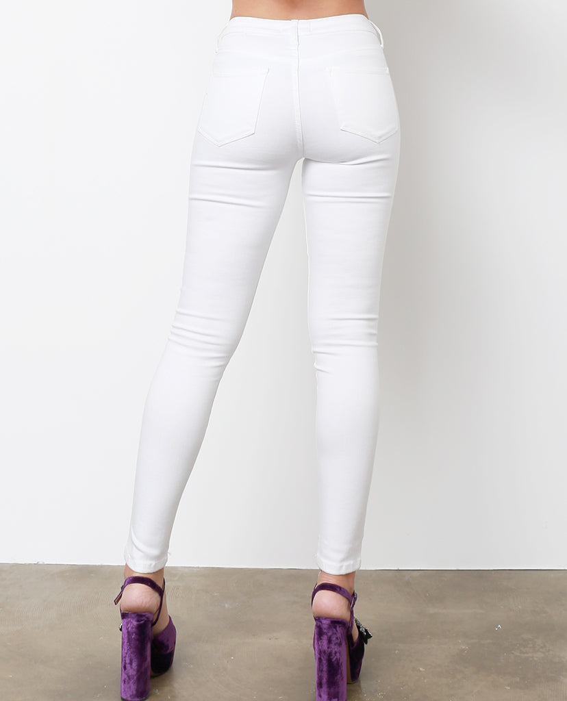 Blanc High-Waist Skinny Denim Jeans - White - Piin | ShopPiin.com