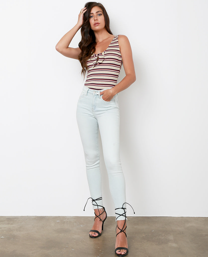 Kicker's High-Rise Distressed Skinny Jeans - Light Blue - Piin | ShopPiin.com