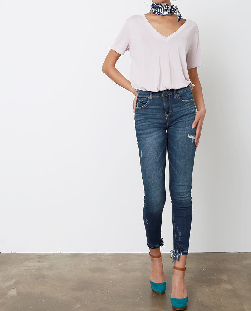 Rebecca Distressed Skinny Jeans - Blue - Piin | ShopPiin.com