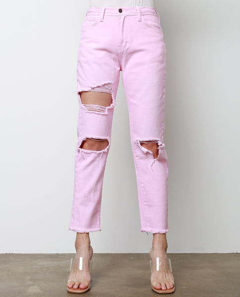 Pinky Promise Boyfriend Denim Jeans - Pink Dyed