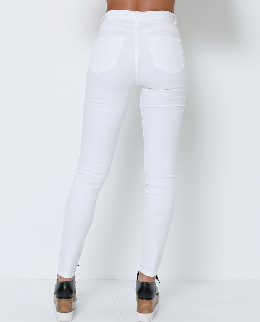 Getting Into White Denim Jeans - White - Piin | ShopPiin.com