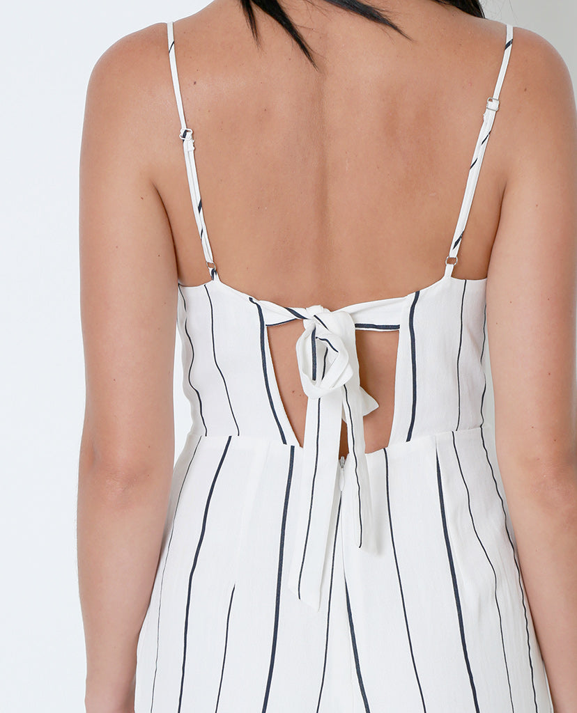 Close Up Striped Jumpsuit - Ivory/Navy - Piin | ShopPiin.com