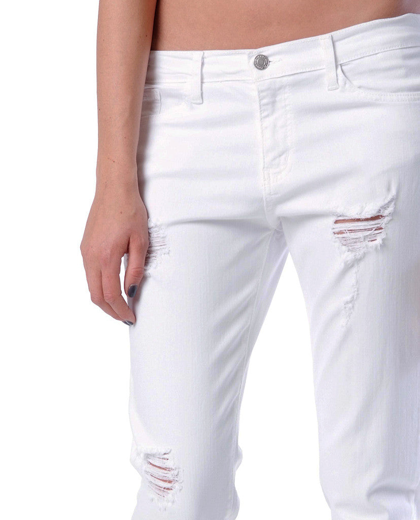 Love Affair Boyfriend Denim Jeans - White Distressed