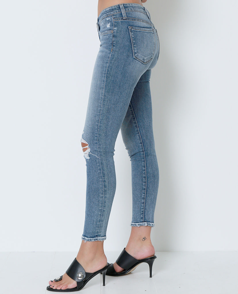 Just In Case Distressed Skinny Denim Jeans - Blue - Piin | ShopPiin.com