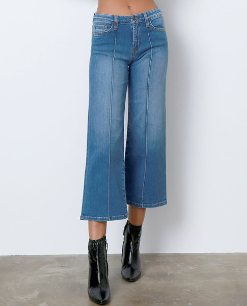 On Point Wide Leg Denim Jeans - Blue - Piin | ShopPiin.com