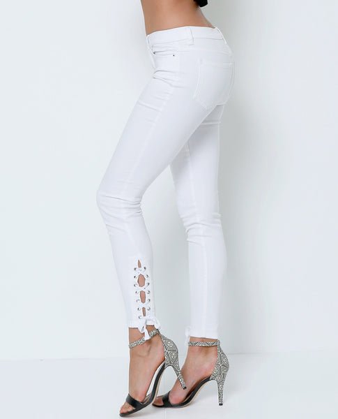 Right Back Into White Denim Jeans - Lace-up Detail