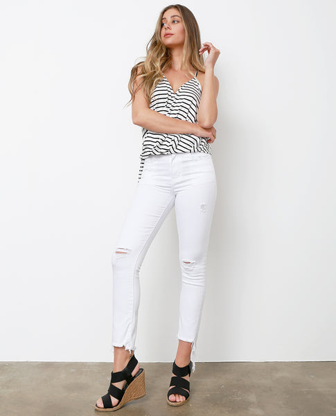 At-ease White Straight Jeans