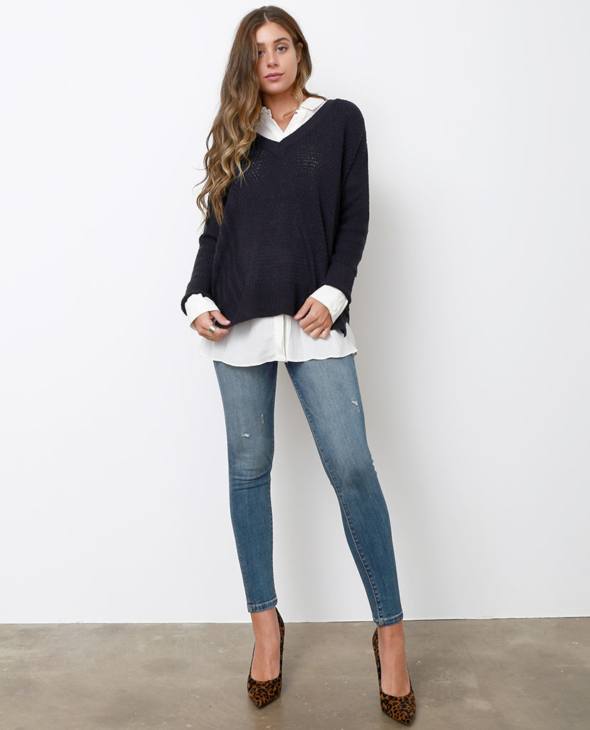 Back In Skinny Jeans  - Blue Distressed - Piin | ShopPiin.com