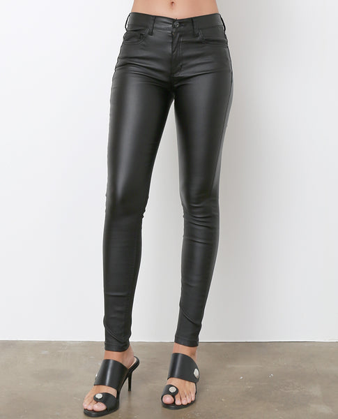 Monica's Coated Skinny Jeans - Black Shiny - Piin | ShopPiin.com