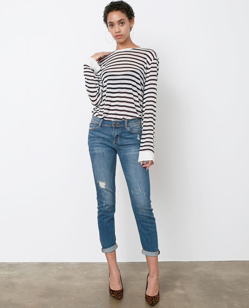 Carla Cropped Boyfriend Jeans - Blue Denim - Piin | ShopPiin.com