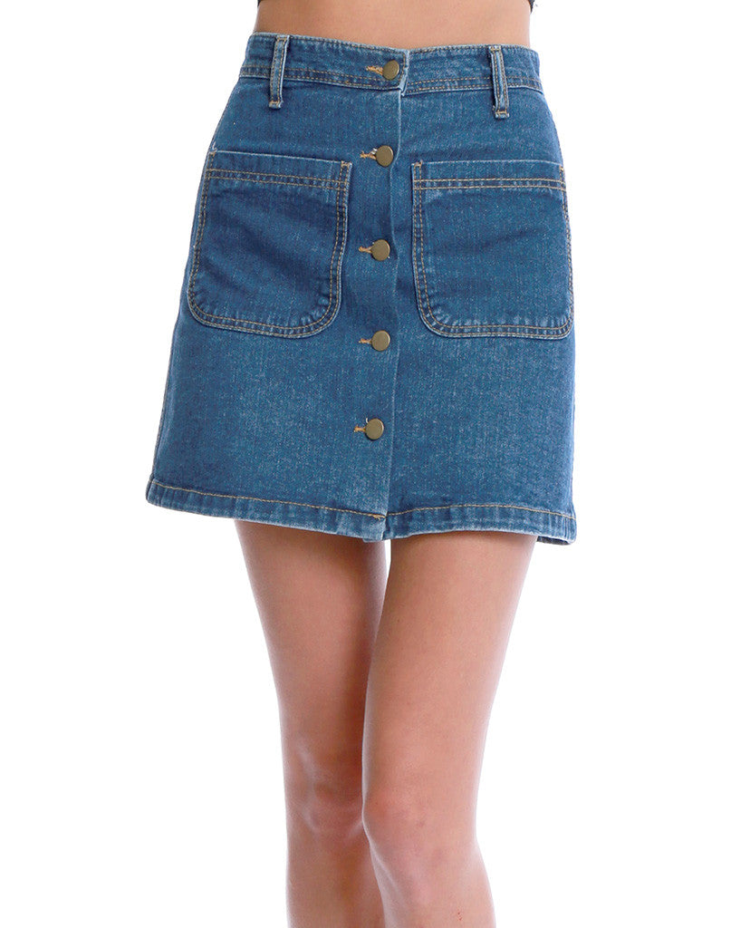 Girl's Talk Denim Mini Skirt - Blue - Piin | ShopPiin.com