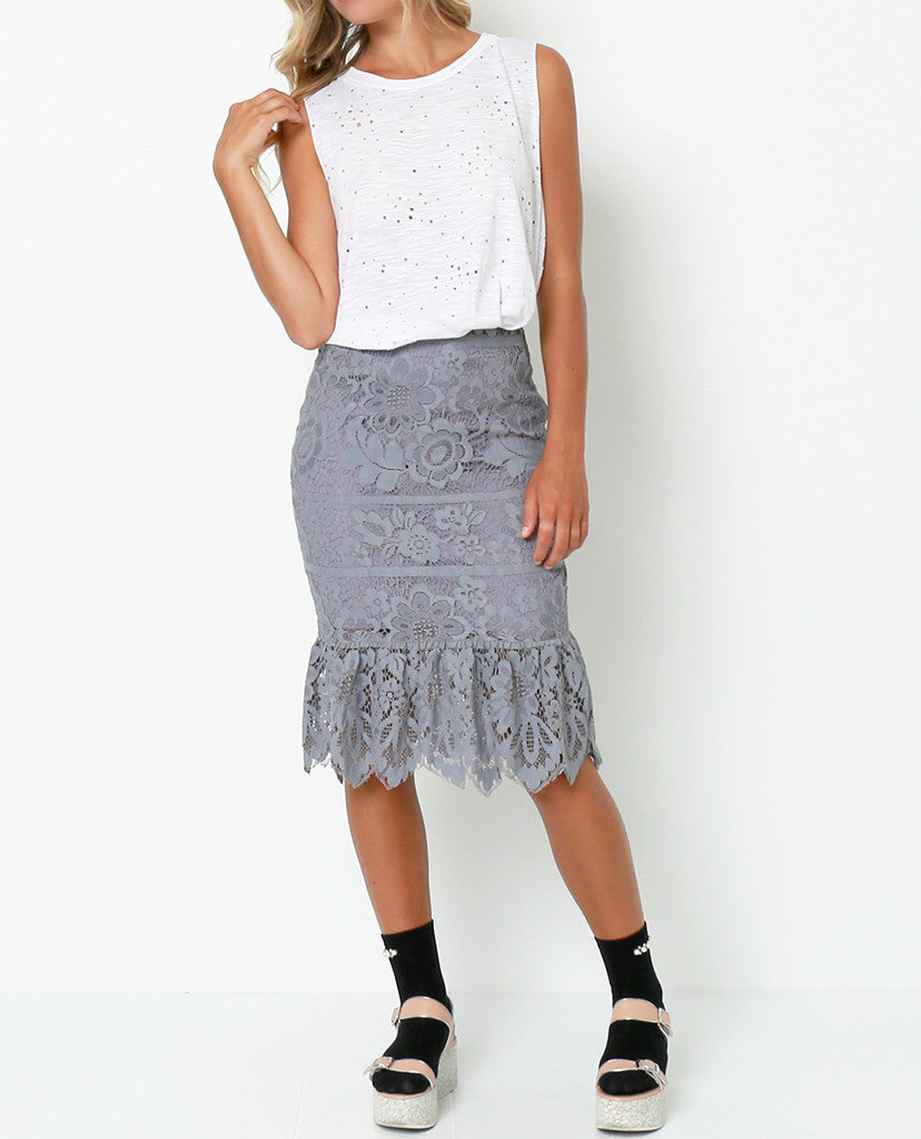Lovely Vibes Lace Skirt - Gray - Piin | ShopPiin.com