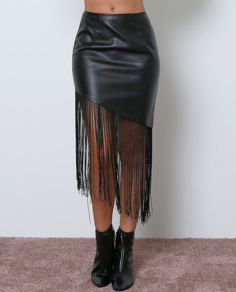 Pretty Good Fringe Skirt - Black Leather - Piin | ShopPiin.com