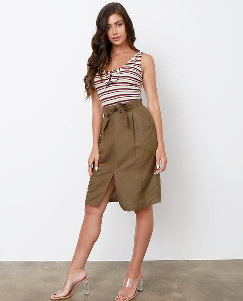 Sleek And Chic Skirt - Brown - Piin | www.ShopPiin.com