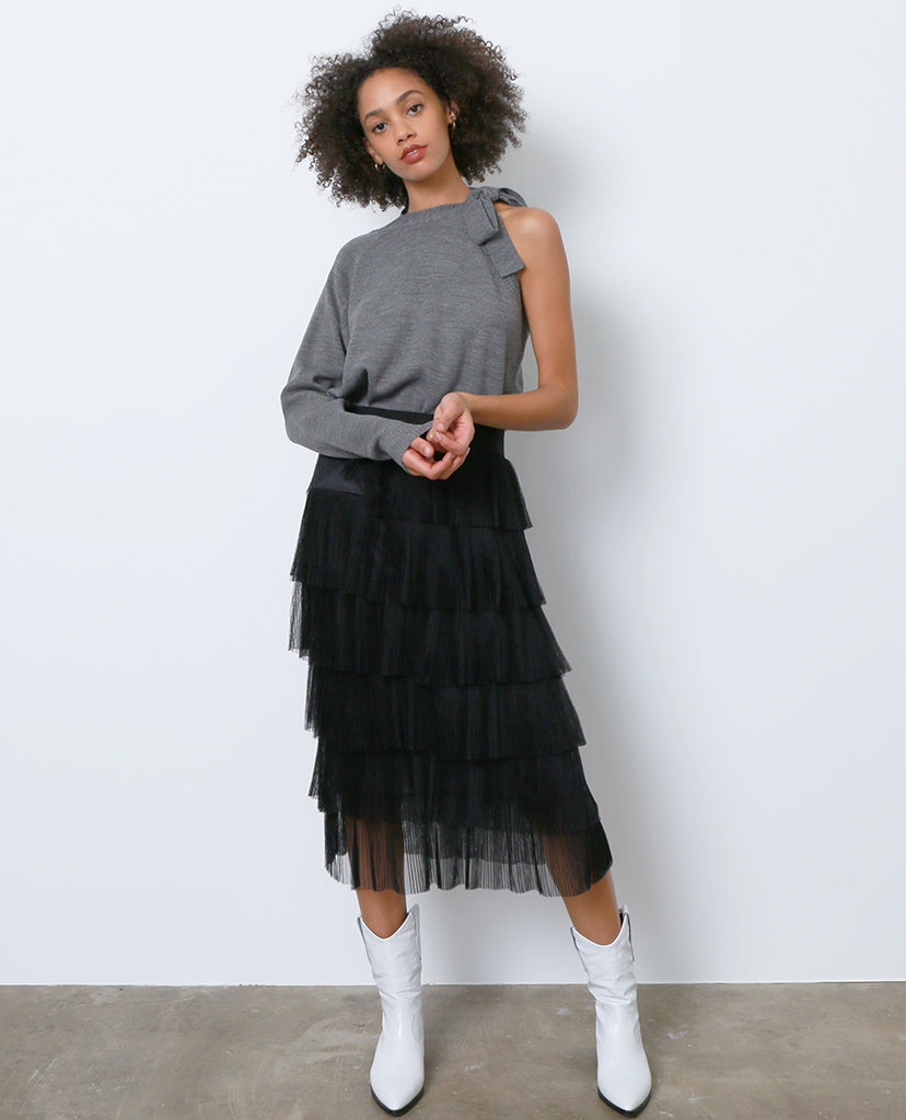 Go With The Flow Midi Skirt - Black Ruffle - Piin | ShopPiin.com