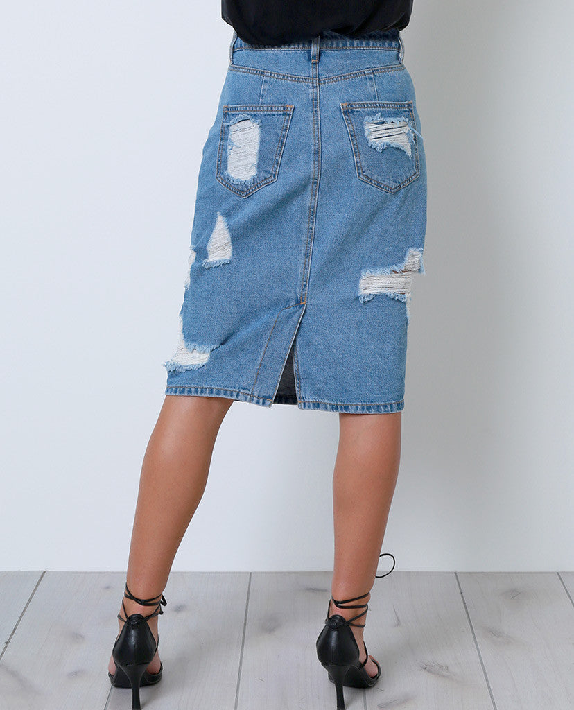 Blue Break Denim Skirt - Piin | www.ShopPiin.com