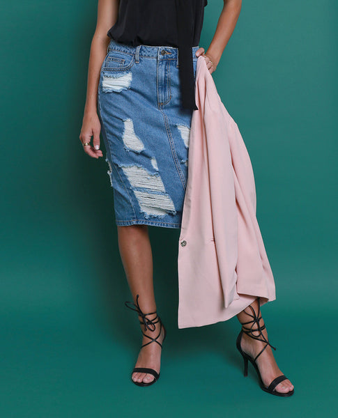Blue Break Denim Skirt - Piin | ShopPiin.com