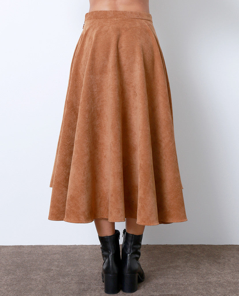 Richly Romantic Midi Skirt - Brown Corduroy - Piin | ShopPiin.com