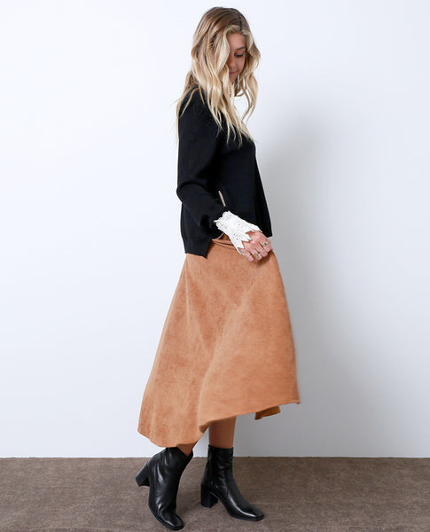 Richly Romantic Midi Skirt - Brown Corduroy - Piin | www.ShopPiin.com