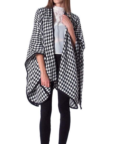 That's Wrap Cape Cardigan - Black/White - Piin | ShopPiin.com