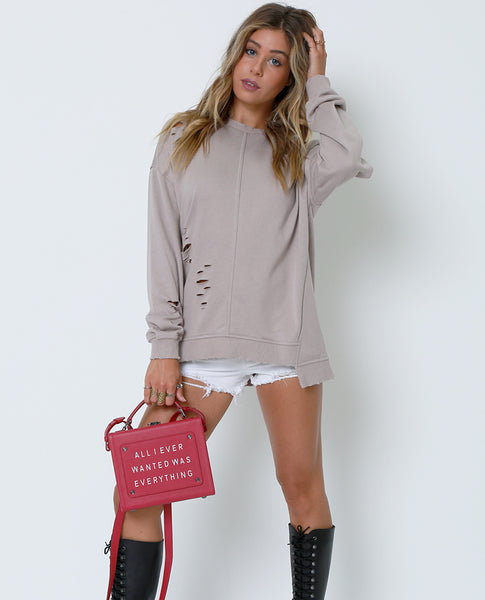 Now And Then Sweatshirt - Taupe - Piin | ShopPiin.com