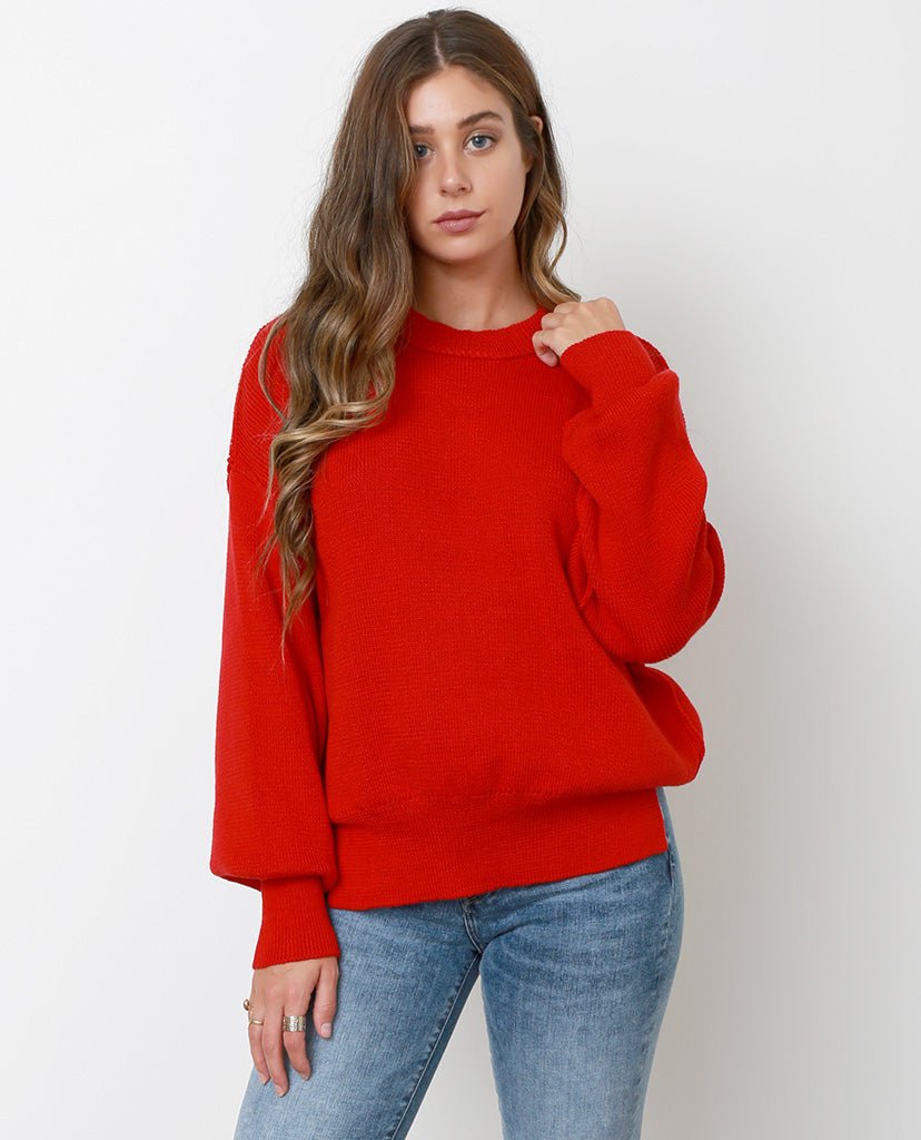 Color Pops Sweater Top - Red - Piin | ShopPiin.com