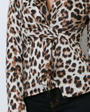 Carmen Leopard Print Blouse - Black/Brown - Piin | ShopPiin.com