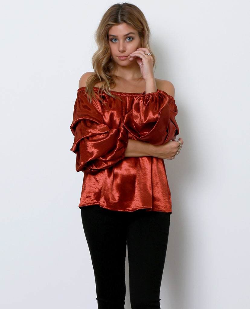 Hint Of Shimmer Off-The-Shoulder Top - Copper - Piin | ShopPiin.com