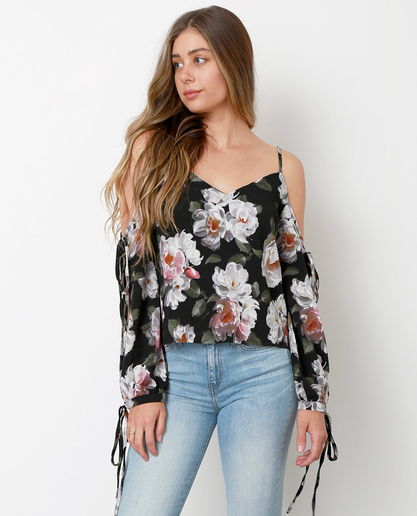 Because I Said So Off Shoulder Top - Black/Floral - Piin | ShopPiin.com