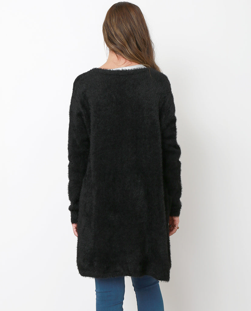 Day Off Knit Fuzzy Cardigan - Black - Piin | ShopPiin.com