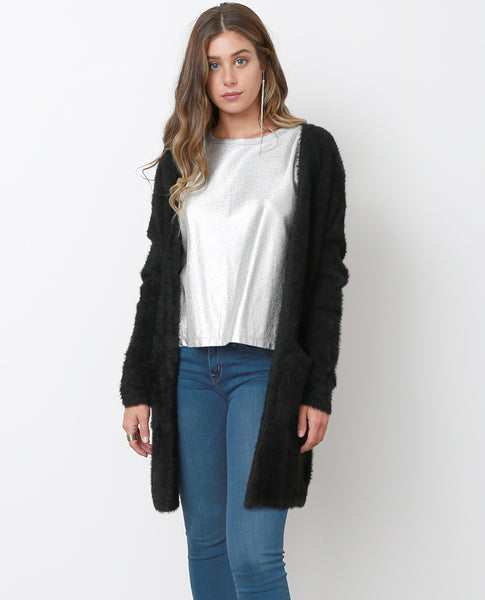 Day Off Knit Fuzzy Cardigan - Black