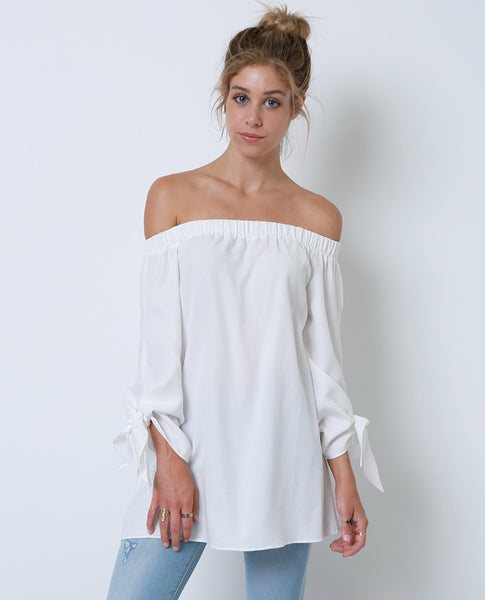 Have In Common Off-Shoulder Tunic Top - White - Piin | www.ShopPiin.com