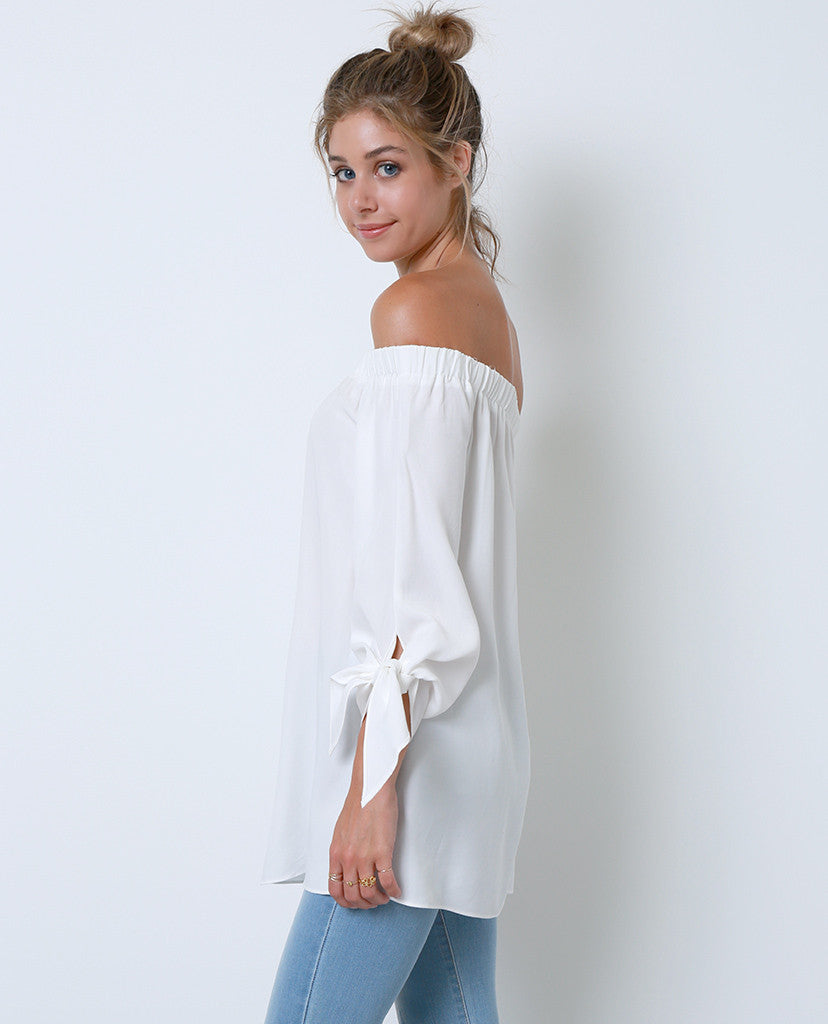 Have In Common Off-Shoulder Tunic Top - White - Piin | ShopPiin.com