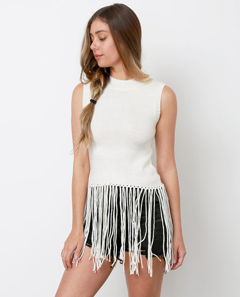 I Heart Fringe Sweater Top - Ivory - Piin | ShopPiin.com