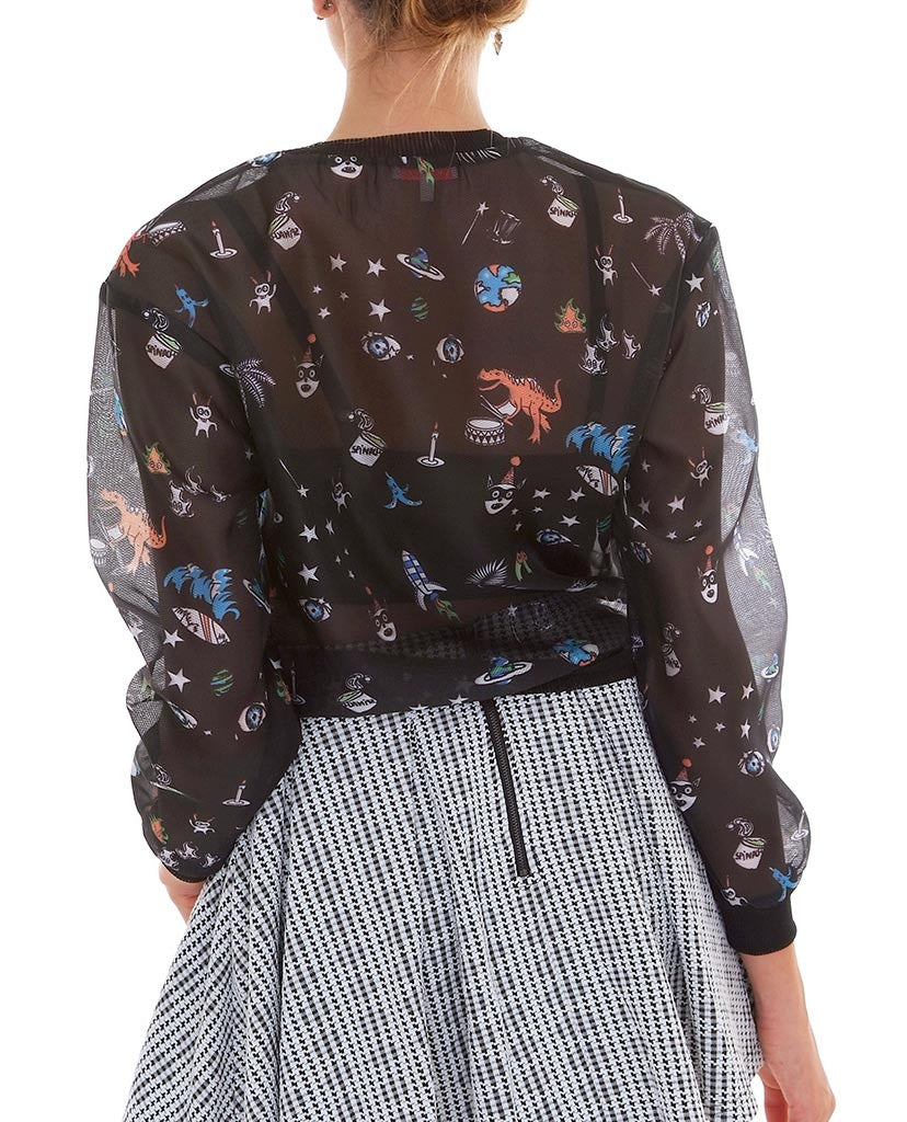 Happy Moments Organza Sweatshirt - Black Print - Piin | ShopPiin.com