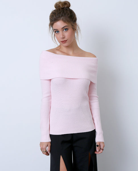 Regret Nothing Off-Shoulder Sweater Top - Pink - Piin | ShopPiin.com