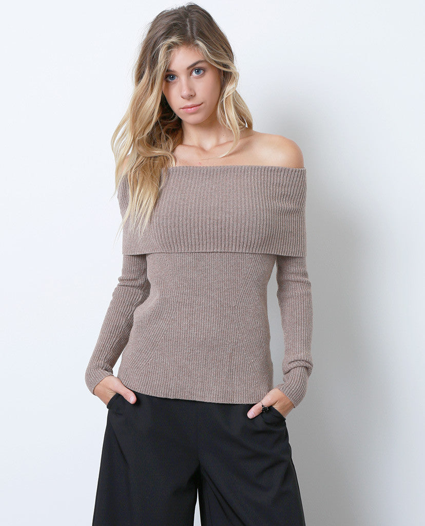 Regret Nothing Off-Shoulder Sweater Top - Brown - Piin | ShopPiin.com