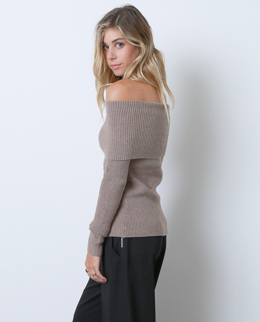 Regret Nothing Off-Shoulder Sweater Top - Brown