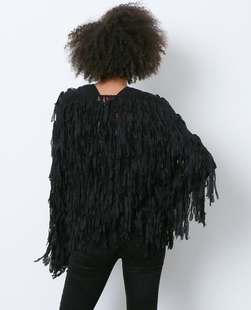 Nothing But Trouble Sweater Cardigan - Black Fringe - Piin | ShopPiin.com