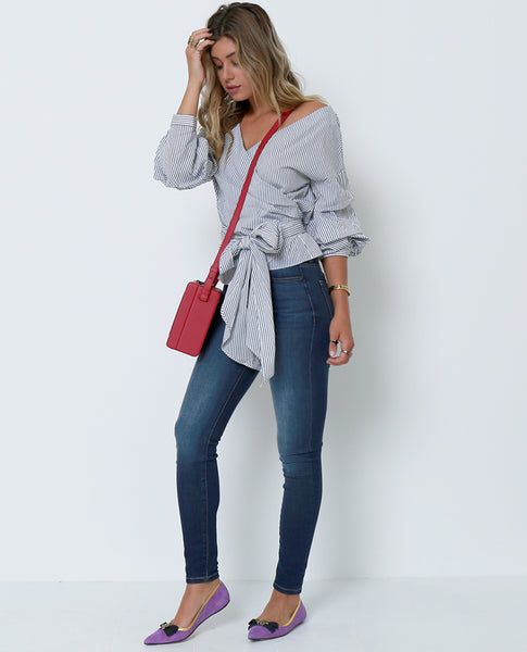 New Ways Wrap Blouse - White/Navy - Piin | ShopPiin.com