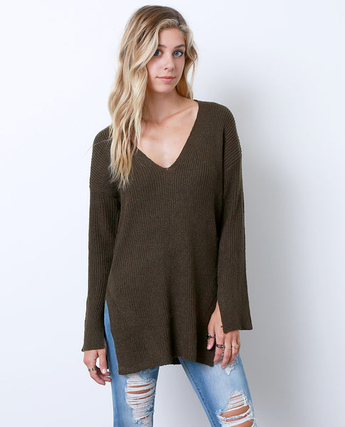 Coming Thru Sweater Tunic Top - Olive - Piin | www.ShopPiin.com
