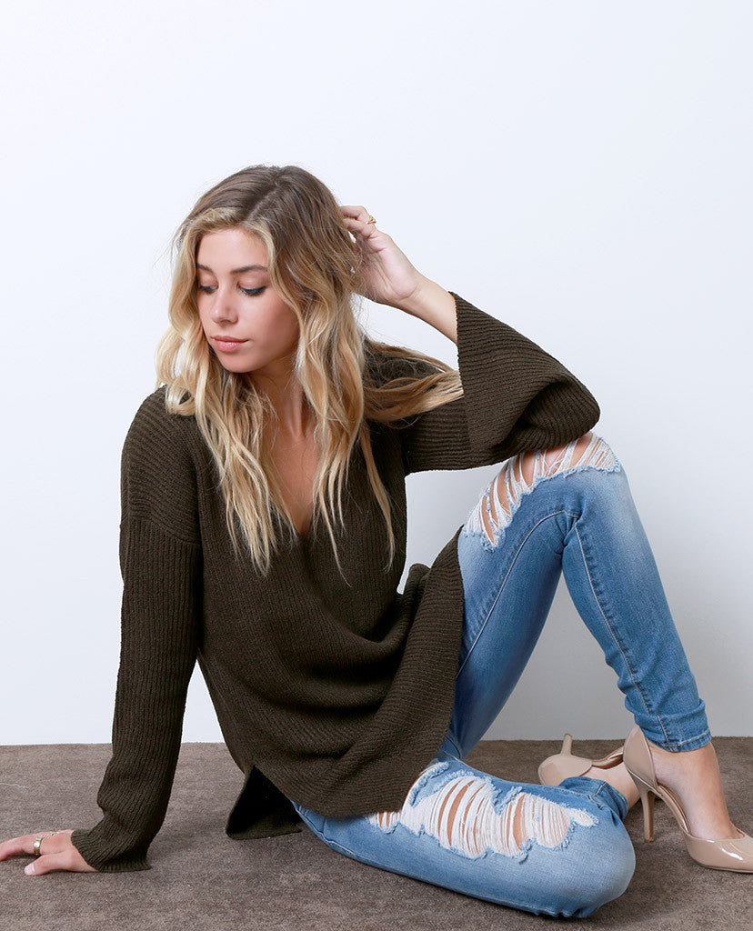 Coming Thru Sweater Tunic Top - Olive - Piin | ShopPiin.com