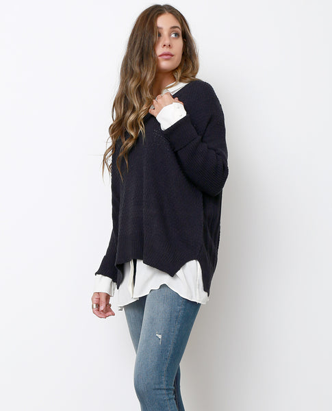 Always and Forever Sweater Top - Navy