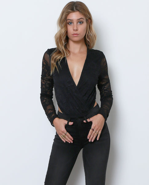 You Are Loved Lace Bodysuit - Black