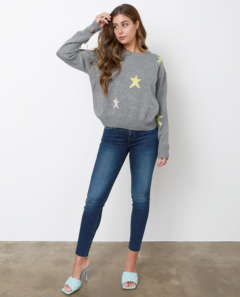 Lucky Star Sweater Top - Heather Gray - Piin | ShopPiin.com