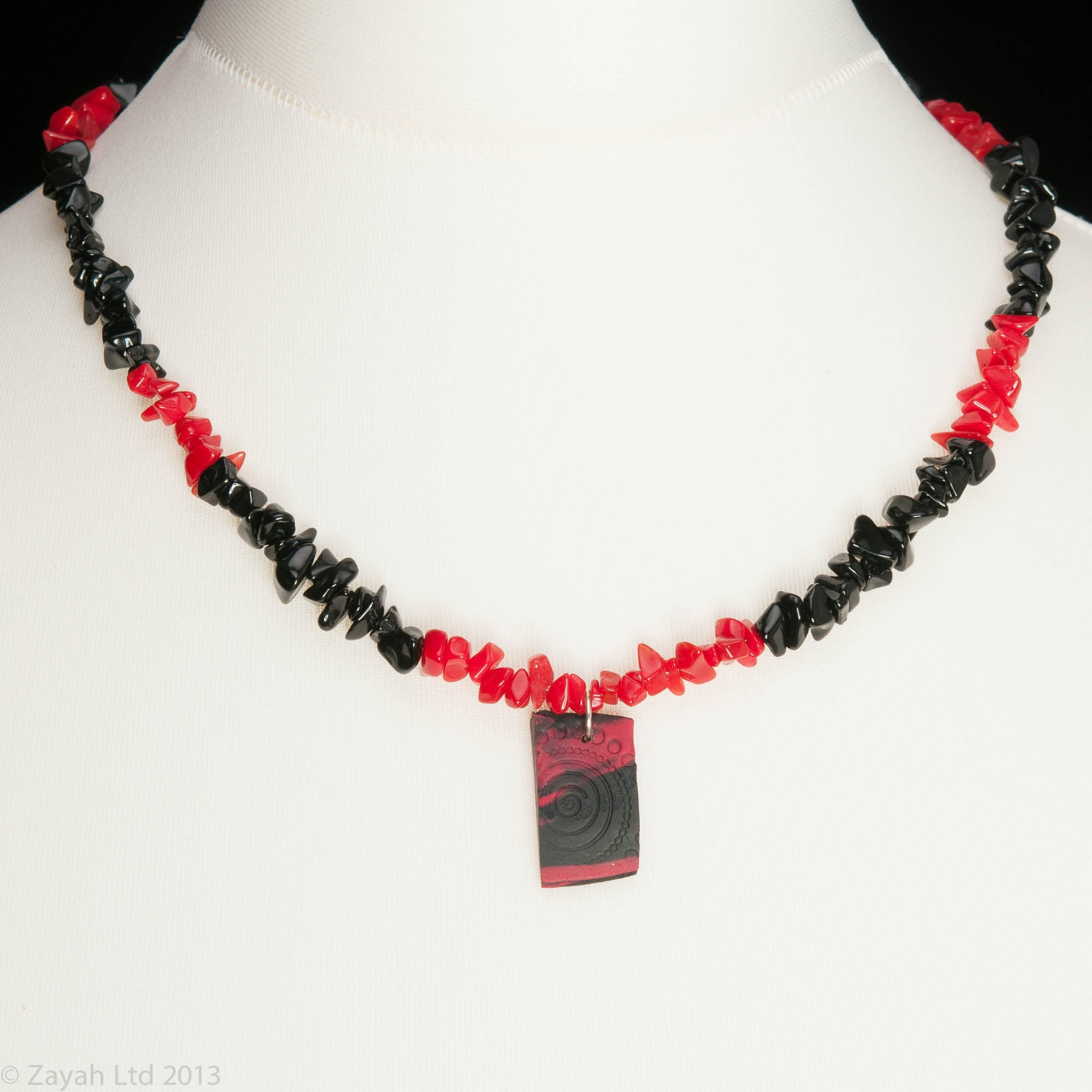 res and long necklace rhodium circle pearl hi black crimson rickis