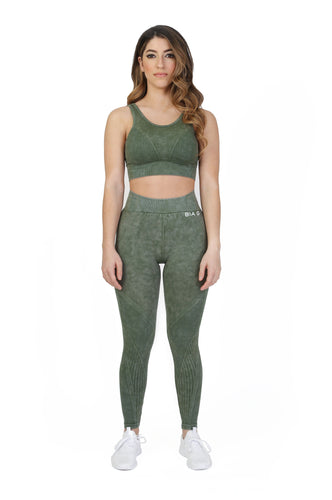 Stretch Green Sports Bra