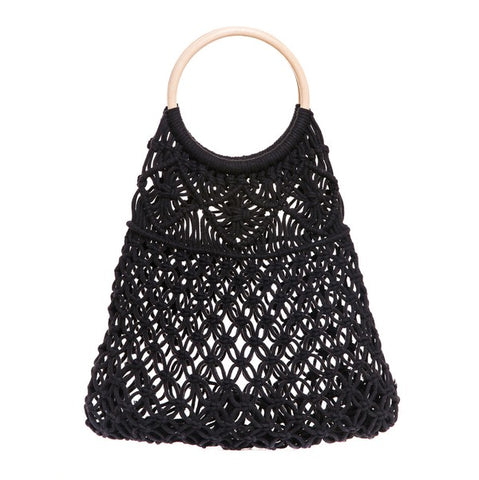 BOHO WOVEN WOODEN HANDLE MACRAME BAG