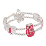 Breast Cancer Silver Tone Beaded Bracelet